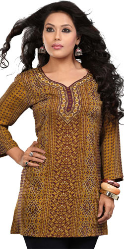 Marvelous Yellow Coloured Crepe Silk Printed Kurti