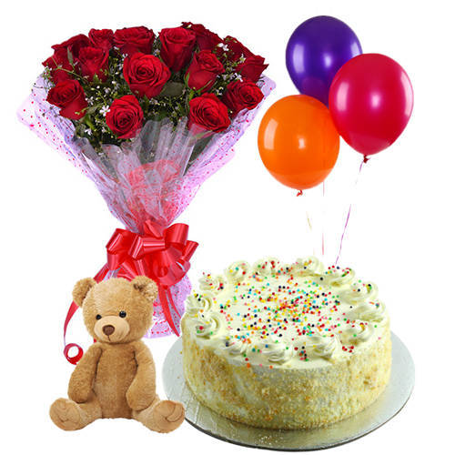 Teddy with Vanilla Cake, Roses Bunch N Balloons