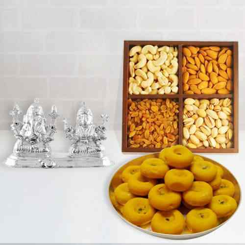 Beautiful Silver Plated Ganesh Lakshmi with Sweets and Dry Fruits