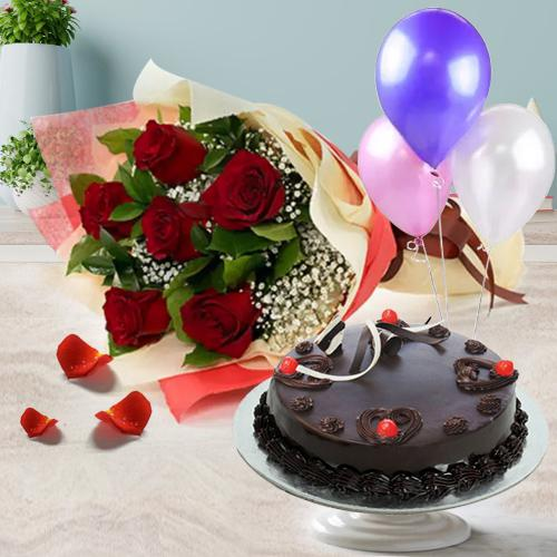 Wholesome Delicious 1/2 Kg Truffle Cake with 6 Red Roses Bunch and 3 Balloons