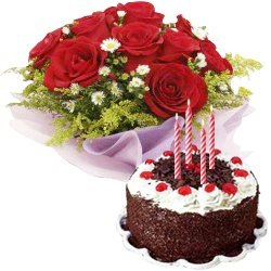 Red Roses Bunch with Black Forest Cake