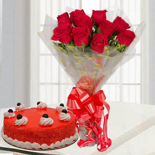 Hand-Arranged Red Rose Bouquet with Red Velvet Cake