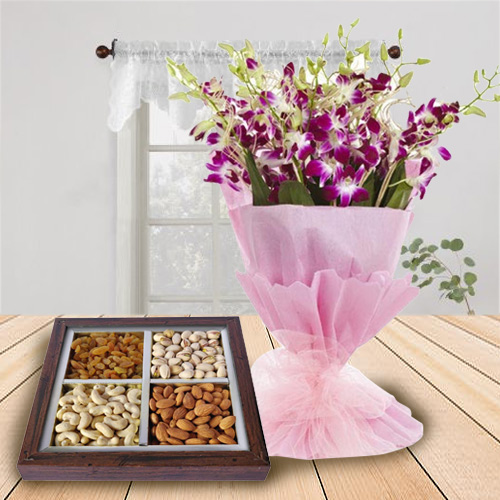 Artfully Arranged Orchids Bouquet and Dry Fruits