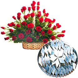 50 Red Roses with 500 gms Kaju Barfi