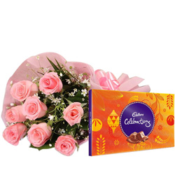 Anniversary Fragrant Pink Roses Bouquet with Cadbury Celebration