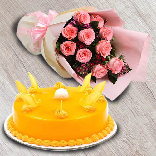 Distinctive Bouquet of Red Roses with Mango Flavour Cake