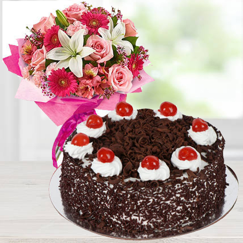 Colorful Flowers with Black Forest Cake