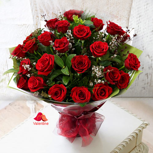 24 Exclusive Red Dutch Roses Bouquet