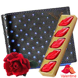 Fancy mens Leather Wallet with Velvet Rose and 5 pcs Lip Shaped Chocolates