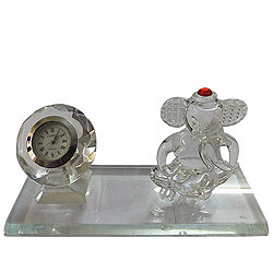 Phenomenal Crystal Ganesh with Table Clock Stand