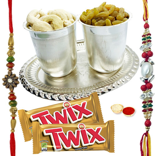Exclusive Pooja Thali decked with Parker Pen, Twix Chocolates, 2 Free Rakhi, Roli Tika and Chawal