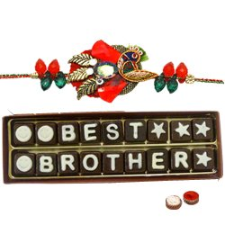 Astonishing 18 Pieces of �Best Brother Chocolate� Pack with Rakhi, Roli Tilak N Chawal for your Caring Brother